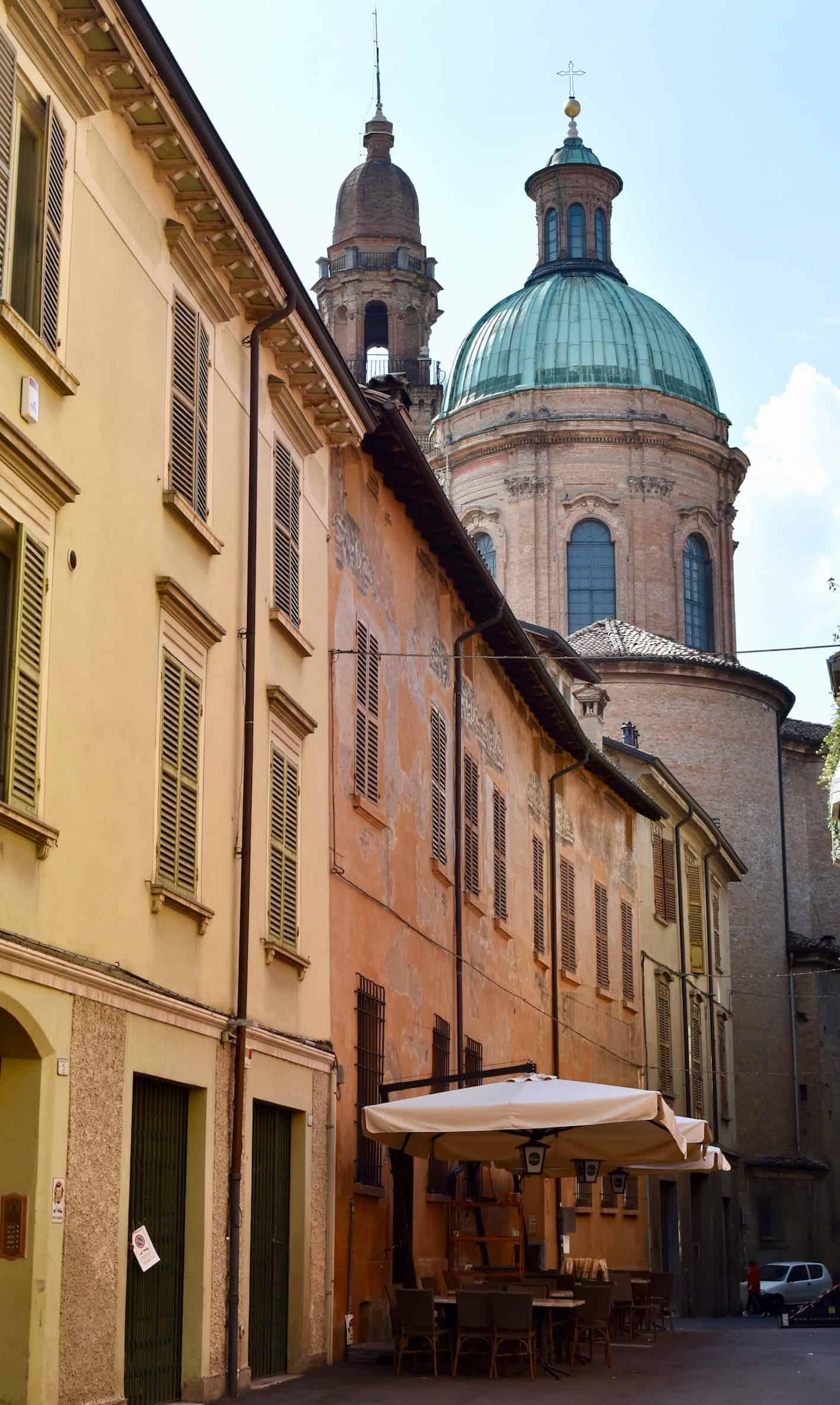 Pastel painted buildings in Reggio Emilia